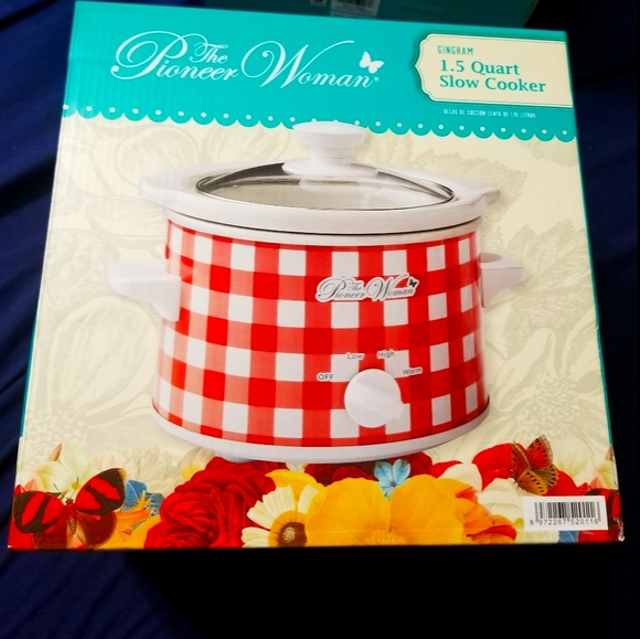 NEW Pioneer Woman Gingham 1.5 Quart Slow Cooker